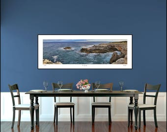 Ocean Panorama Photo Print, Seascape Photography, Coastal Beach Decor, Cliffs Panorama, Large Wall Art, Panoramic Seascape Photo, Spain Art