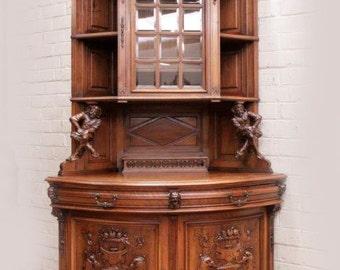 RARE Antique French Jester Whimsical Court Joker Corner Cabinet Walnut 19th Century #7282