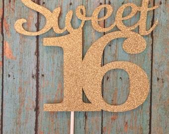 Sweet Sixteen Birthday Cake Topper,Script,Cursive,Sixteenth Birthday,Glitter Card Stock,Happy Birthday, 1-Ct