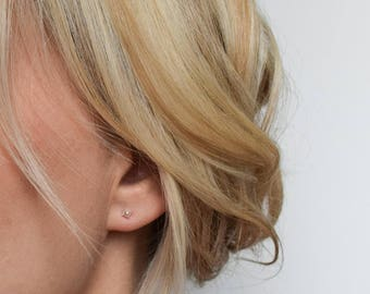 Silver Stud Earrings - Tiny Stud Earrings - Pyramid Stud Earrings - Mix & Match Earrings - Spike Earrings - Minimalist Earrings