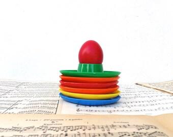 Set of 6 plastic eggs cups / Seventies / French Decor / Retro / Kitchen /