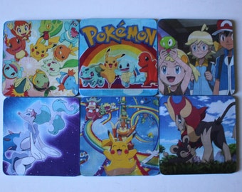 Pokemon Coasters Rainbow Pikachu Unique Mobile Game Television Show Drinkware barware 4 Fans Custom Made Gift