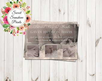 Baby Birth Announcement - Baby Boy - Baby Girl - Vintage - Sepia - Antique