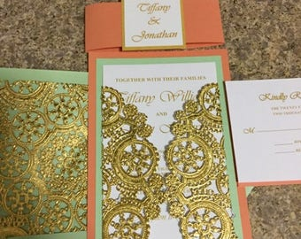 Coral and Mint Wedding Invitation **** SAMPLE LISTING ONLY ****