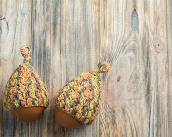 Set of 6 Crochet egg cozy, Warmer for eggs, Easter decoration, home decor, yellow orange green