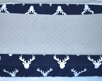 Choose minky color- 18 colors- Indigo Antlers and Minky Changing Pad Cover, hunting, buck head, antlers, deer, fawn, navy, grey, boy nursery