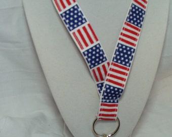 Lanyard with American Flag Print