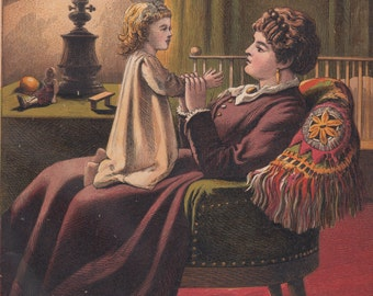 Sweet Victorian Girl Sitting on Her Beloved Mother's Lap Antique Lithograph Art Print 1878