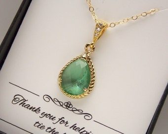 Green Necklace, Mint Aqua Chrysolite Bridesmaid Necklace, Cubic Zirconia, Bridesmaid Jewelry, Wedding Jewelry, Gold Filled, Bridesmaid Gifts