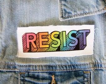 Resist Rainbow Patch - Canvas Sew On - LGBT LGBTQ Gay and Lesbian Pride