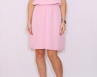Light pink dress Prom dress Short chiffon dress for bridesmaid Keyhole dress