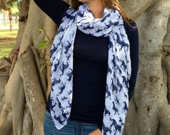 Animal Print Scarf / Horse Scarf /Mothers Day Gift / Spring Scarf / Women Scarves / Infinity Scarves / Fashion Accessories / Gifts For Her