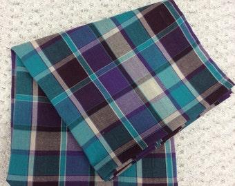 Purple, Blue, and Brown Plaid Gauze Swaddling Blanket