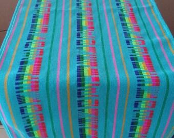 Mexican Rebozo, mexican folk fabric Table Runner, mexican Table cloth, Blue sarape fabric, Blue serape fabric, mexican fabric, rebozo fabric