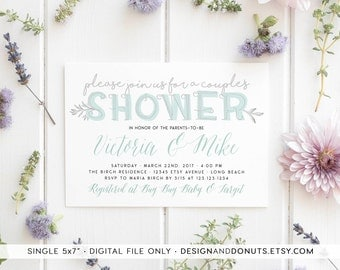 Printable Couples Shower Invitation, Boy Baby Shower, Co-ed, Mint, Boho, Calligraphy [470a]