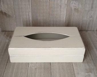 White Tissue Box Cover, Shabby Cottage Tissue Box Cover. Up Cycled/RefurbishedWood Tissue Box Cover,