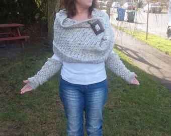 Crochet Cowl and Arm-Warmer Combo, Hunger Games Inspired, Katniss Wrap, Post Apocaplyptic Armour, Dystopia Clothing, Outlander Look