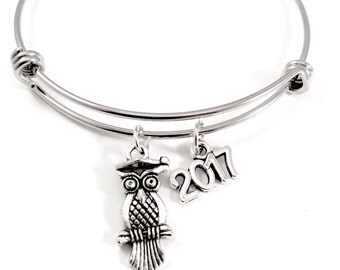 Graduation bracelet,  2017 Charm Bracelet, Graduate gift, owl charm bangle bracelet, personalized Jewelry, gift for her