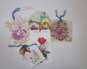 Spring GIFT TAG ASSORTMENT  Vintage Greeting Card Set of Five