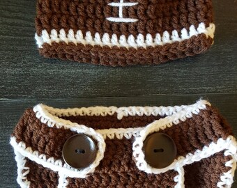 Football Baby Hat and Diaper Cover -- 0-2 Months