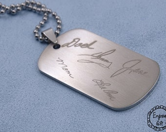 Family Memeber Signature Keepsake, Handwriting Engrave on Stainless Steel Dog Tag Necklace/Keyring