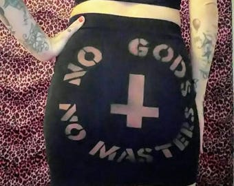 No Gods No Masters Mini Skirt / Punk Metal Anarchist Atheist / Inverted cross