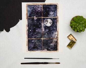 Full moon watercolor, Watercolor moon art print, Moon and stars painting Night sky wall art, Luna print Full moon home decor Simple moon art