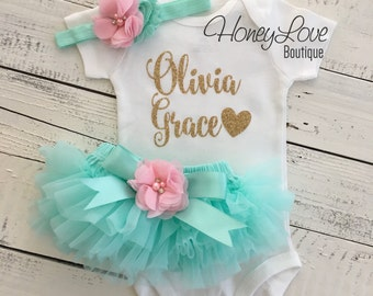 PERSONALIZED SET gold glitter shirt bodysuit, mint/aqua tutu skirt bloomers light pink flower, newborn baby girl take home hospital outfit