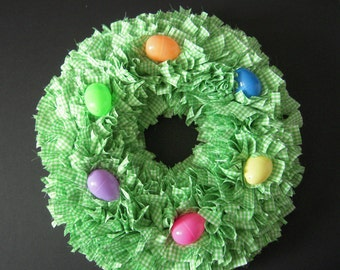 Green Gingham Rag Wreath with Easter Eggs