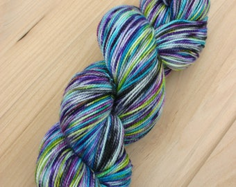 "Hand Dyed Sock Yarn/80-20 SW Merino-Nylon/Vivacious 2-ply in ""Octopus' Garden"""