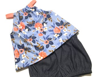 Blue Floral Bloomers Set, Denim Blue, Peasant Top, Baby Bloomers, Diaper Cover, Shorts, Girls Clothing, Capsule Wardrobe, Summer Outfit