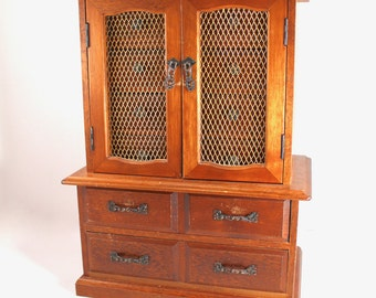 LARGE vintage jewelry box - wood, wooden, armoire-style with mesh doors, harvest gold velvet interior, 1970s, 1980s