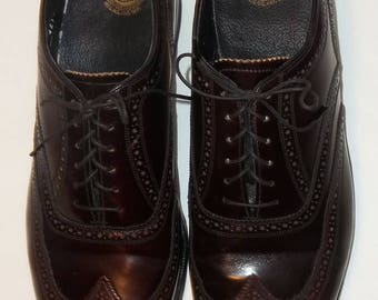 Vintage Mens Shoes Florsheim Imperial Wingtip Oxfords Burgundy Black Leather Lace Up Wing Tip Dress Shoes Size 11 1/2 D Style 30353 T247125