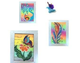 Rainbow Wool Paintings, Needle felted Art.