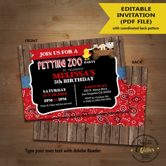 petting zoo birthday party invitation farm petting zoo bandana