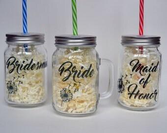 Mason Jar Tumblers - Boho Wedding - Wedding Gifts - Bridesmaid Gift - Personalized Bridesmaid Gift - Mason Bar, Smoothie, Jar Tumbler