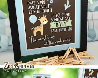 Dont Say Baby Game,  Zoo Animals Baby Shower, printable INSTANT DOWNLOAD - 001