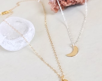 Sterling/Gold Moon Necklace, Delicate Moon Necklace, Tiny Moon Necklace, Crescent Moon Necklace, Simple Necklace, Dainty Necklace
