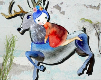Reindeer and a girl, articulated paper, Creative Kit DIY, animal paper dolls, Instant download, woodland puppets, Last minute gifts