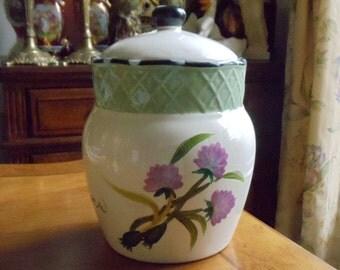 Vintage Floral Cookie Jar, Large Ceramic Purple flowers Green Leaves Canister w/Sealable Lid, Herb Garden Multi-Color Cookie Jar, 1994