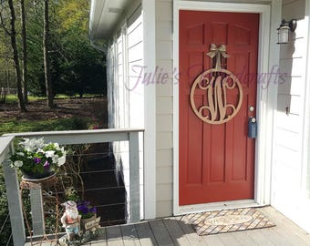 Wooden Circle Initial Monogram Door Hanger with Script Initial