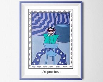 Zodiac aquarius woman,woman zodiac aquarius print, woman aquarius print, woman aquarius digital download, woman aquarius wall art