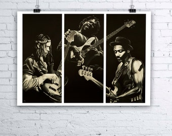Bass Odyssey - Jaco Pastorius, Victor Wooten and Marcus Miller Bassist Painting - Giclee Fine Art Print - Various sizes available