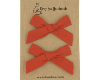 Flame Orange Hand-Tied Bow // Pigtail Set
