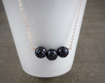 14k gold filled sterling silver round black lava rock bead necklace / bridesmaid necklace / minimalist / dainty / essential oil diffuser
