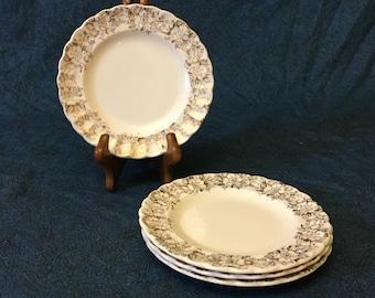 Vintage American Limoges Fresno Gold 22K Gold Trimmed Rose Bread and Butter Plates, Set of 4