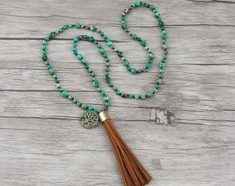 Long Bead necklace Suede tassel necklace Boho bead necklace bead tassel necklace Green empire jasper bead necklace Long necklace NL-022