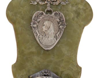 """Large 12 1/8"""" - French Art Deco  Holy Water Font - Heart Of Virgin Mary By E. Dropsy - Angel Raphael - Onyx - Wall Benitier"""