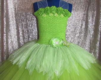 The Green Fairy Tutu Dress. Inspired by Tinkerbell herself! Handmade To Order Especially For You.