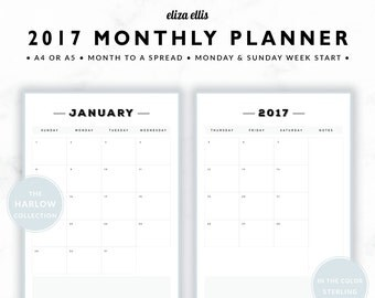 2017 MONTHLY PLANNER / A4 Calendar / 2017 Planner / Planner Inserts / Printable Planner / Calendar / The Harlow Planners in Sterling / 414